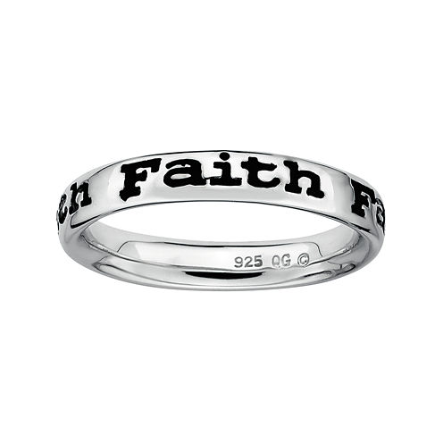 """Personally Stackable Sterling Silver """"Faith"""" Stackable Ring"""