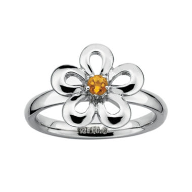 jcpenney.com | Personally Stackable Genuine Citrine Sterling Silver Flower Stackable Ring
