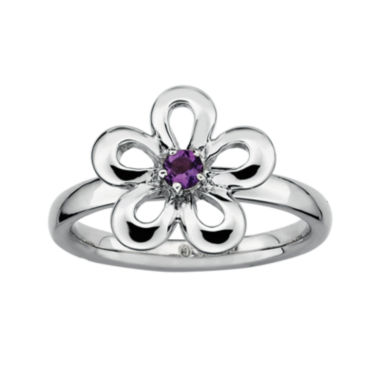 jcpenney.com | Personally Stackable Sterling Silver Amethyst Flower Ring