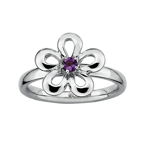 Personally Stackable Sterling Silver Amethyst Flower Ring