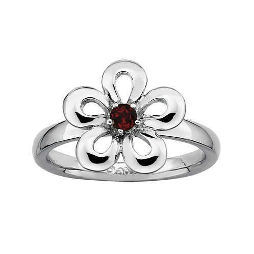 Personally Stackable Genuine Garnet Sterling Silver Flower Stackable Ring