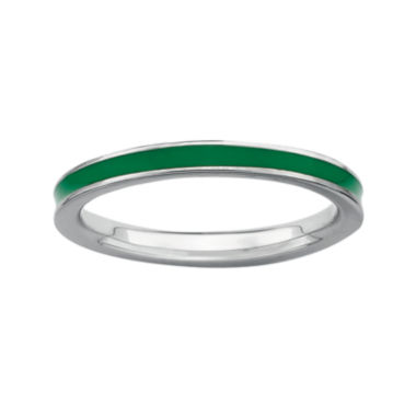 jcpenney.com | Personally Stackable Sterling Silver Green Enamel Stackable Ring