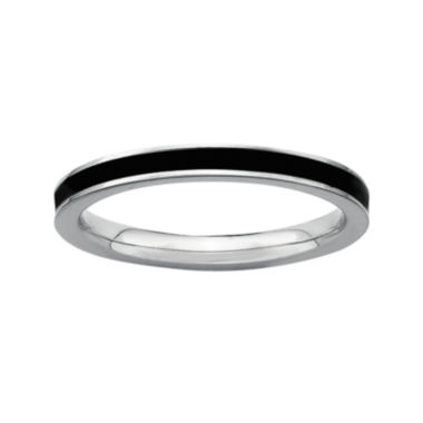 jcpenney.com | Personally Stackable Sterling Silver Black Enamel Stackable Ring