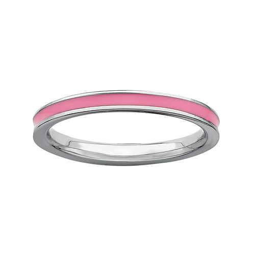 Personally Stackable Sterling Silver Pink Enamel Stackable Ring