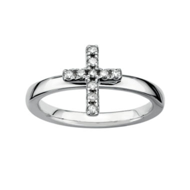 jcpenney.com | Personally Stackable 1/10 CT. T.W. Diamond Sterling Silver Cross Ring