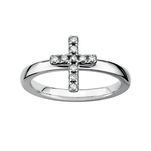 Personally Stackable 1/10 CT. T.W. Diamond Sterling Silver Cross Ring