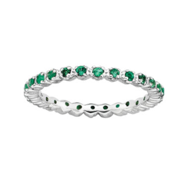 jcpenney.com | Personally Stackable Lab-Created Emerald Sterling Silver Eternity Ring