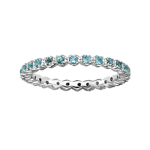 Personally Stackable Genuine Blue Topaz Sterling Silver Eternity Ring