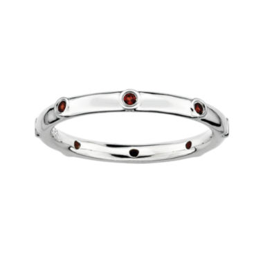 jcpenney.com | Personally Stackable Genuine Garnet Sterling Silver Station Ring
