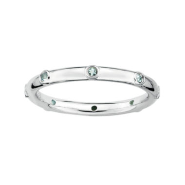 jcpenney.com | Personally Stackable Genuine Aquamarine Sterling Silver Station Ring