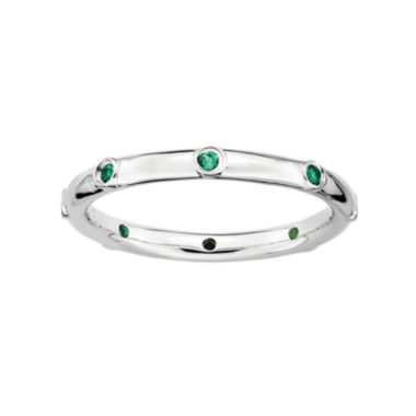jcpenney.com | Personally Stackable Lab-Created Emerald Sterling Silver Station Ring