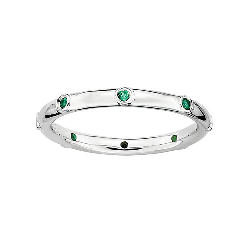 Personally Stackable Lab-Created Emerald Sterling Silver Station Ring