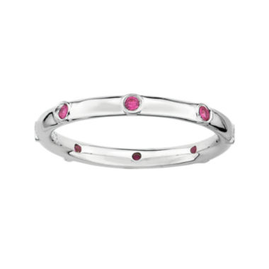 jcpenney.com | Personally Stackable Lab-Created Ruby Sterling Silver Station Ring