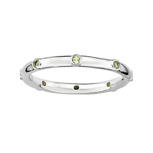 Personally Stackable Genuine Peridot Sterling Silver Station Ring