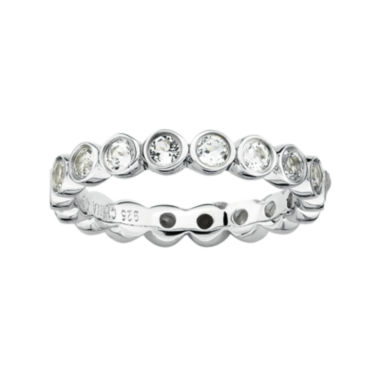 jcpenney.com | Personally Stackable Genuine White Topaz Sterling Silver Eternity Ring
