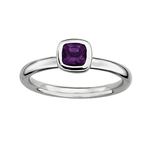Personally Stackable Cushion-Cut Genuine Amethyst Sterling Silver Ring