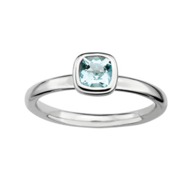 jcpenney.com | Personally Stackable Cushion-Cut Genuine Aquamarine Sterling Silver Ring