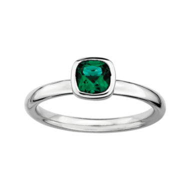 jcpenney.com | Personally Stackable Cushion-Cut Lab-Created Emerald Sterling Silver Ring