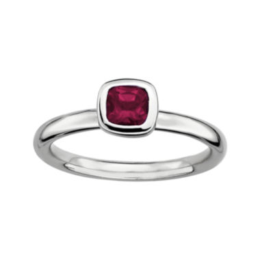 jcpenney.com | Personally Stackable Cushion-Cut Genuine Rhodolite Garnet Sterling Silver Ring