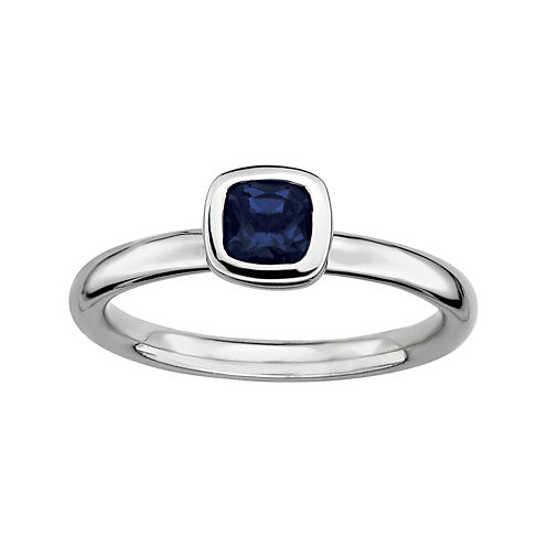 Personally Stackable Cushion-Cut Blue Sapphire Sterling Silver Ring