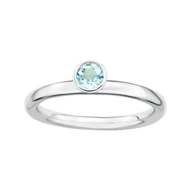 jcpenney.com | Personally Stackable Genuine Aquamarine Sterling Silver High Profile Ring