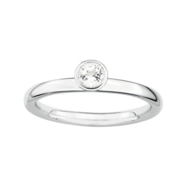 jcpenney.com | Personally Stackable Genuine White Topaz Sterling Silver High Profile Ring