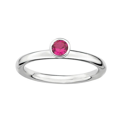 Personally Stackable Lead Glass-Filled Ruby Sterling Silver High Profile Ring