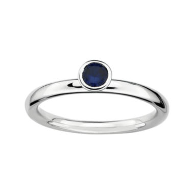 jcpenney.com | Personally Stackable Lab-Created Blue Sapphire Sterling Silver High Profile Ring
