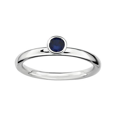 Personally Stackable Lab-Created Blue Sapphire Sterling Silver High Profile Ring