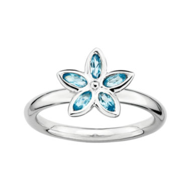 jcpenney.com | Personally Stackable Genuine Blue Topaz Sterling Silver Flower Ring