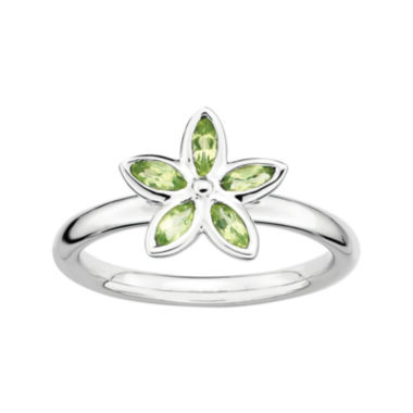 jcpenney.com | Personally Stackable Genuine Peridot Sterling Silver Flower Ring