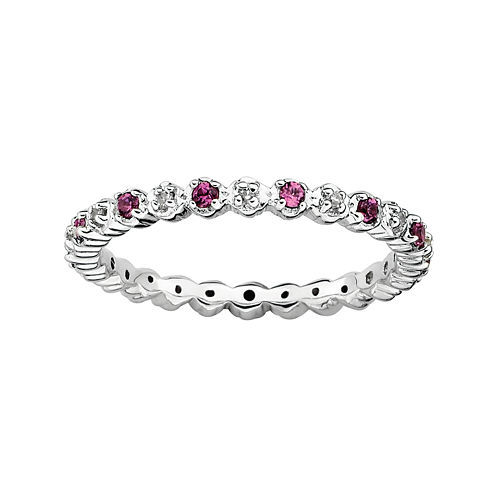 Personally Stackable Genuine Rhodolite & Diamond-Accent Eternity Ring