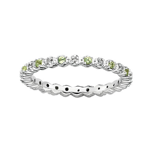 Personally Stackable Genuine Peridot & Diamond-Accent Eternity Ring