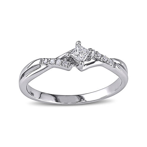 1/7 CT. T.W. Diamond 10K White Gold Twist Promise Ring
