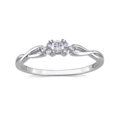 jcpenney.com | 1/6 CT. T.W. Diamond 10K White Gold Twist Promise Ring