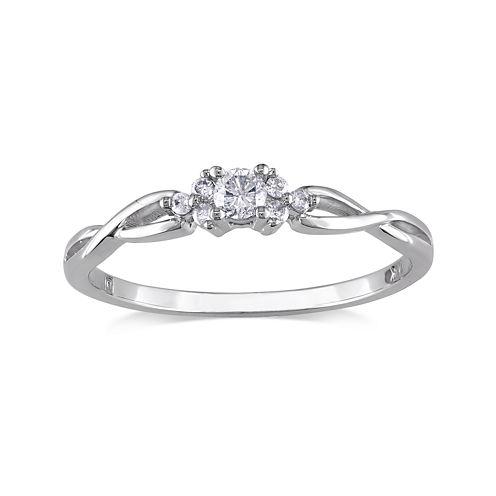 1/6 CT. T.W. Diamond 10K White Gold Twist Promise Ring