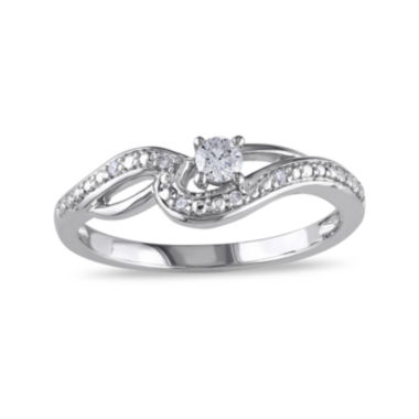 jcpenney.com | 1/7 CT. T.W. Diamond 10K White Gold Swirl Promise Ring