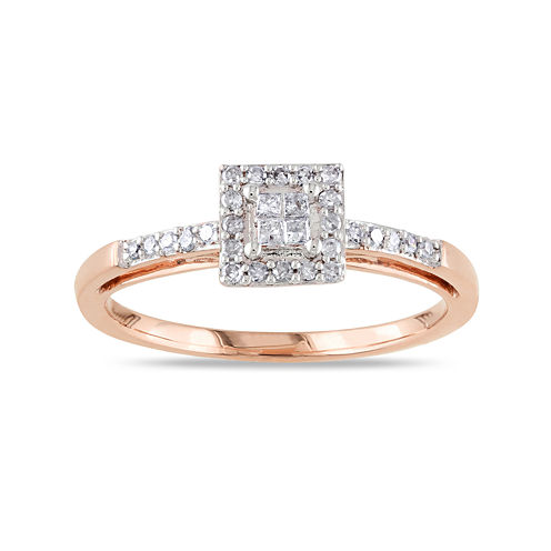 1/5 CT. T.W. Diamond 10K Rose Gold Quad Princess Bridal Ring