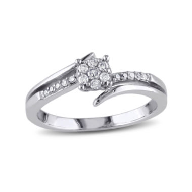 jcpenney.com | 1/5 CT. T.W. Diamond 10K White Gold Cluster Bypass Promise Ring