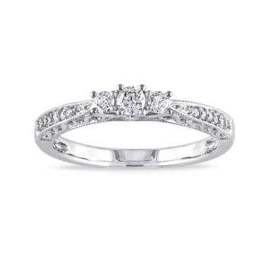 jcpenney.com | 1/4 CT. T.W. Diamond 10K White Gold Vintage-Style 3-Stone Promise Ring