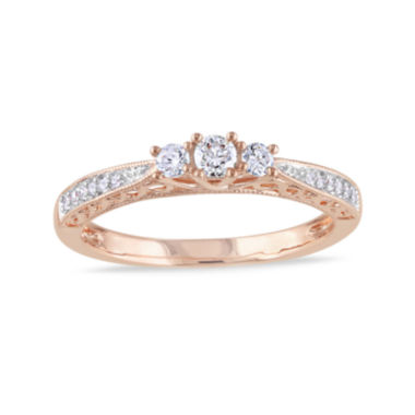 jcpenney.com | 1/4 CT. T.W. Diamond 10K Rose Gold Vintage-Style 3-Stone Promise Ring