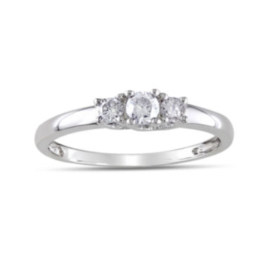 jcpenney.com | 1/4 CT. T.W. Diamond 10K White Gold 3-Stone Promise Ring