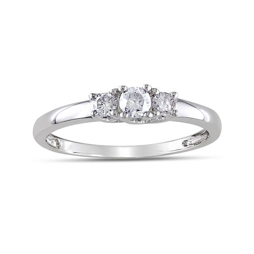 1/4 CT. T.W. Diamond 10K White Gold 3-Stone Promise Ring