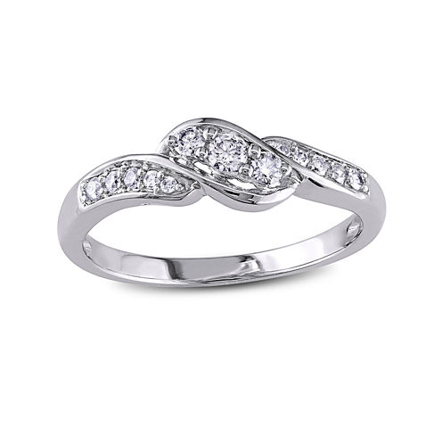 1/4 CT. T.W. Diamond 10K White Gold Crossover 3-Stone Promise Ring