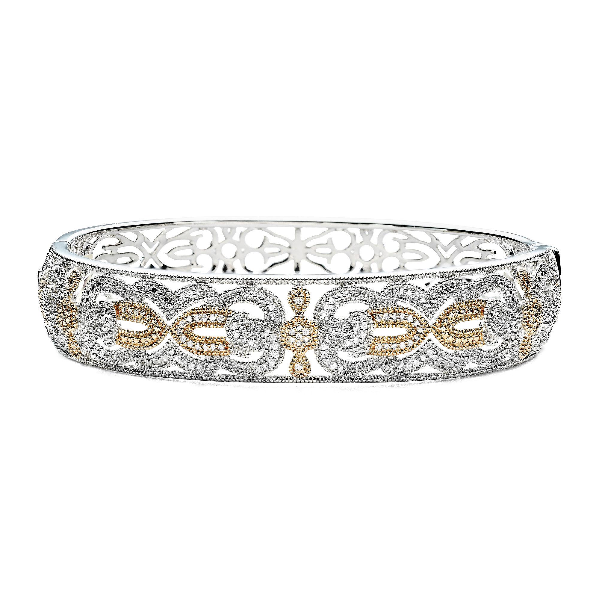 Vintage Inspirations™ 1/5 CT. T.W. Diamond Two-Tone Bangle Bracelet plus size,  plus size fashion plus size appare