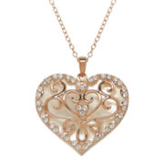 Crystal-Accent Mother-of-Pearl 14K Rose Gold Over Silver Heart Pendant Necklace