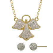 Crystal-Accent 14K Yellow Gold Over Silver Earring and Angel Necklace Set