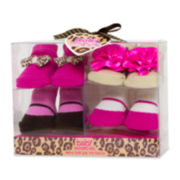 4-pk. Pink and Leopard Print Socks - Girls One Size