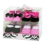 4-pk. Pink and Black Socks – Girls One Size