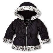 Pistachio Hooded Wildcat Print Faux Fur Jacket – Girls 2t-6t